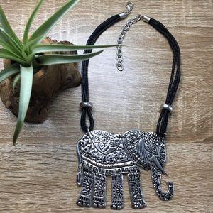 Silver elephant necklace, boho, tribal, ethnic
